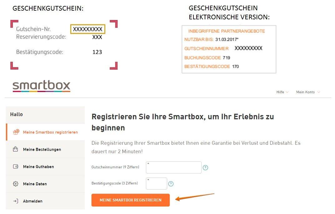 Geschenkbox registrieren