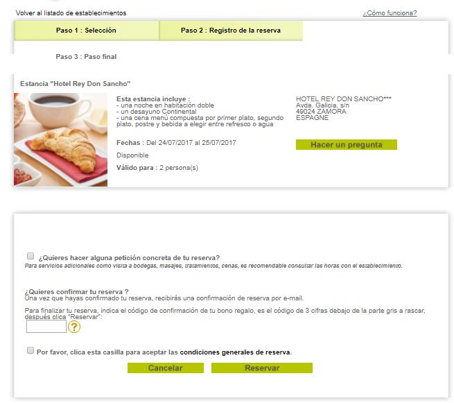 recibirs por correo electrnico una confirmacin de reserva en caso de inmediata o una confirmacin de solicitud de reserva en caso de que