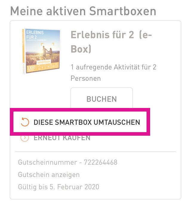 Smartbox geschenkbox umtauschen