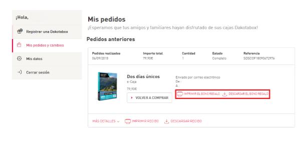 8bd9e5106817 ... Selecciona «Mis pedidos y cambios» donde verás la opción para descargar  o imprimir tu e-Caja