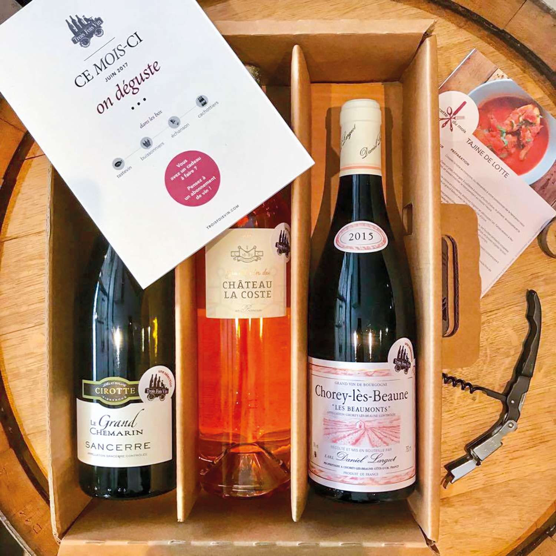 Abonnement de 6 mois avec 1 coffret de 3 bouteilles de grands vins à recevoir mensuellement
