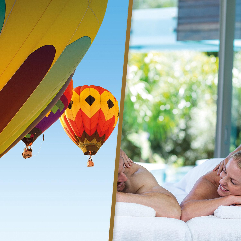 Vol en montgolfière et pause bien-être en duo