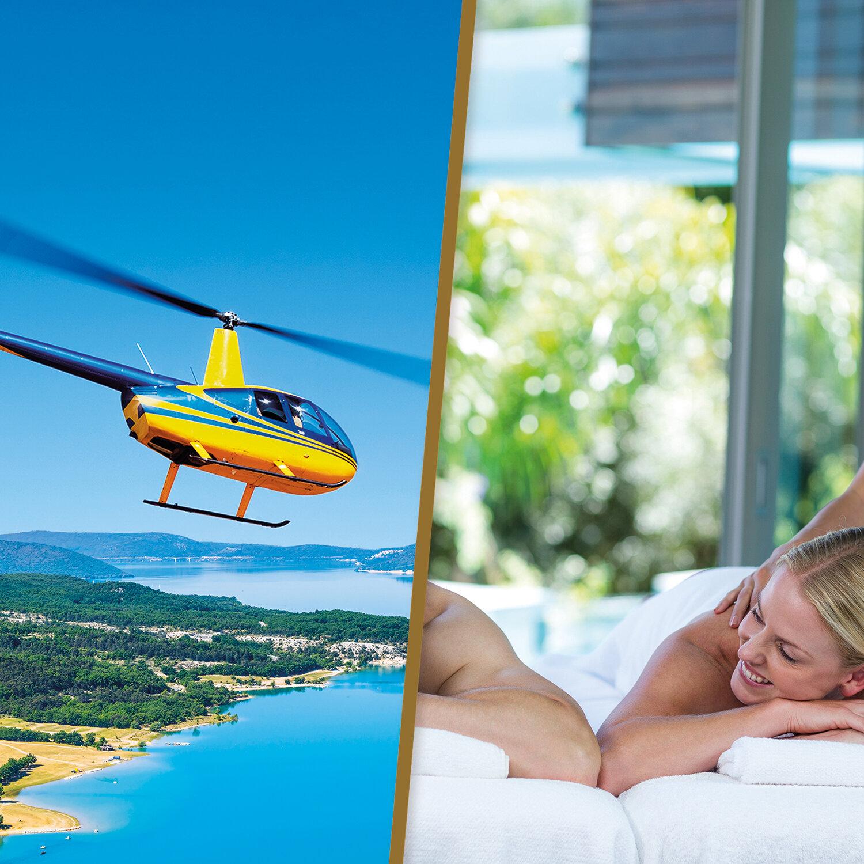 Vol en hélicoptère et massage avec détente au spa pour un duo